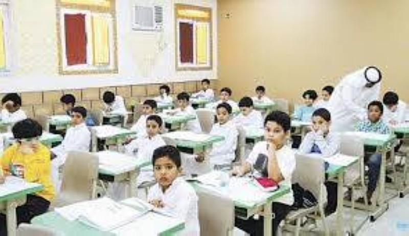 طلاب المرحلة الابتدائية على مقاعد الدراسة قبل جائحة كورونا.