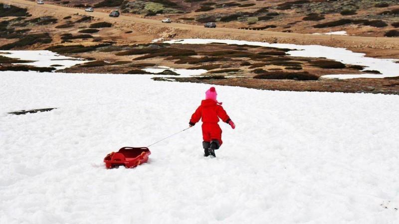 طفل يستعد للاستمتاع بالتزلج في جبل اللوز (واس)
