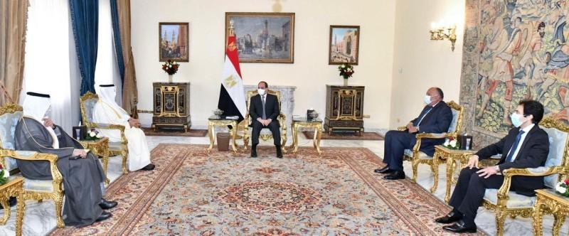 السيسي خلال لقاء الحجرف في القاهرة.