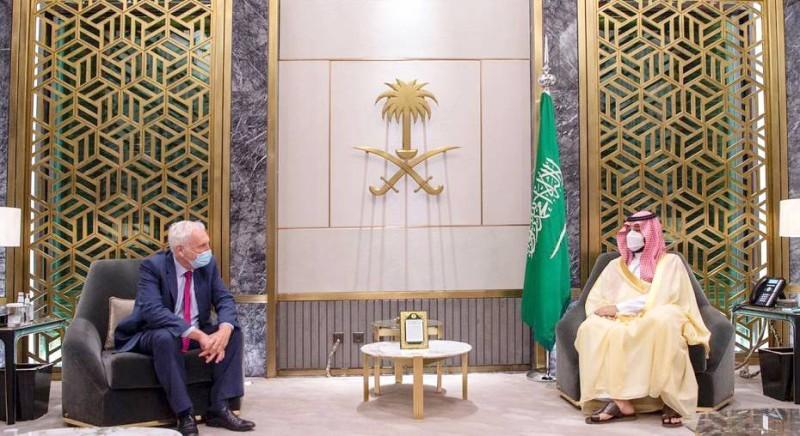 ولي العهد يلتقي مبعوث رئيس وزراء بريطانيا لمنطقة الخليج.