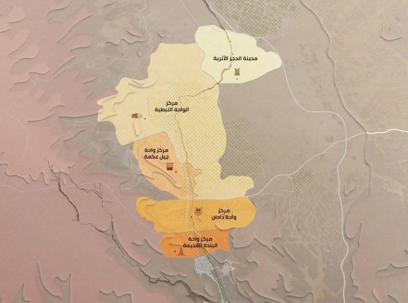 مخطط لأبرز المواقع السياحية في العلا.