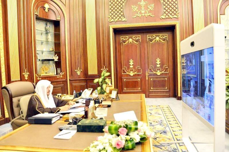 رئيس مجلس الشورى خلال جلسة شورية سابقة عبر الاتصال المرئي. (واس)