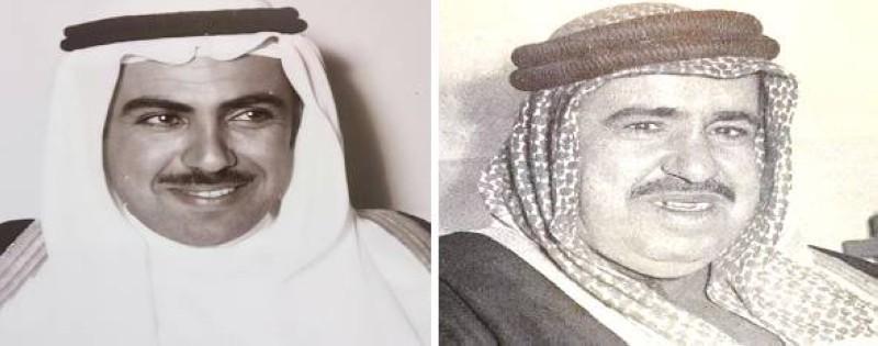 الشيخ عبدالله الأحمد الجابر وابنه الأكبر الشيخ مبارك.