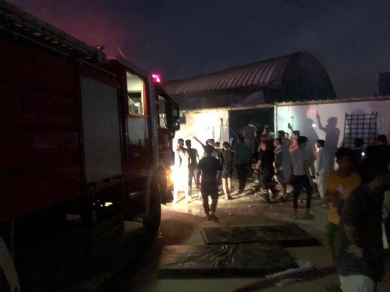 آثار الحريق في مستشفى بمحافظة ذي قار.