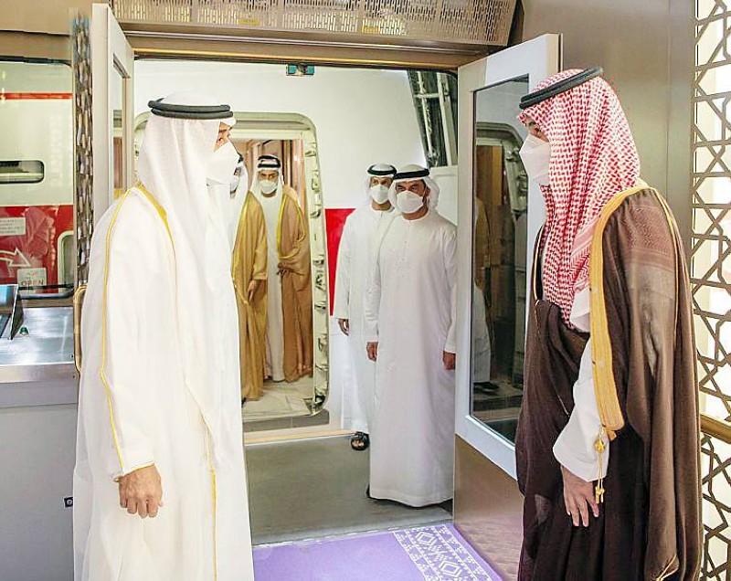 الأمير محمد بن سلمان مستقبلاً ولي عهد أبوظبي.   (واس)