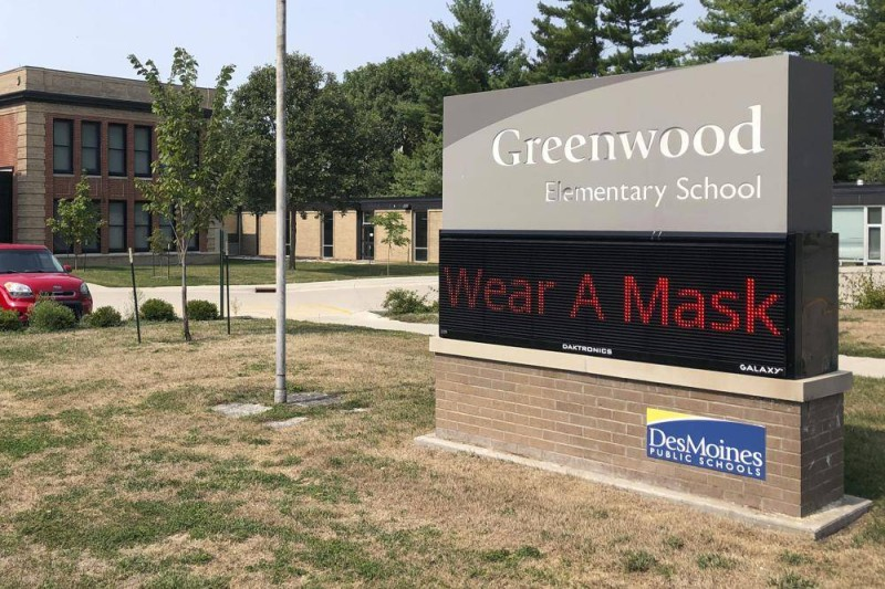 مدرسة ابتدائة بولاية إيوا تطالب التلاميذ بارتداء قناع الوجه.