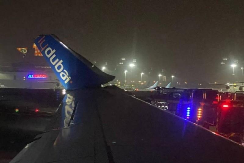 تضرر جناح طائرة فلاي دبي