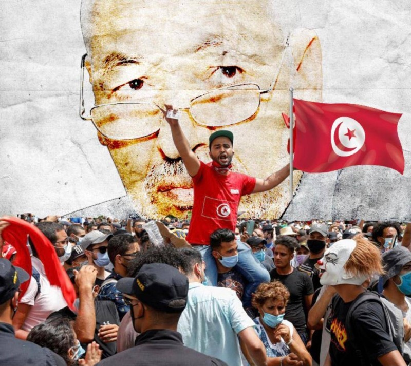 تونسيون ينددون بفساد الغنوشي. (متداولة)