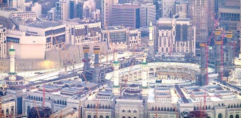 مبنى المطاف والتوسعة السعودية بالحرم المكي، وتظهر حولها مشاريع توسعة الحرم. (واس)