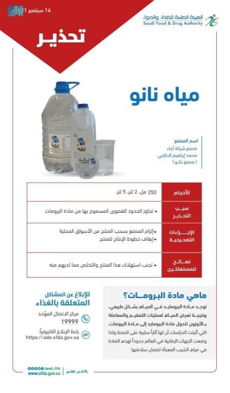 تفاصيل مخالفة منتج مياه نانو