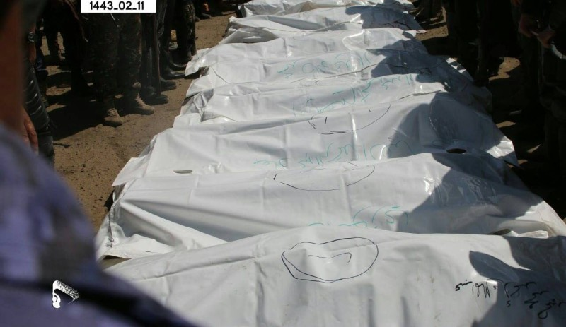 جثامين المدنيين الذين أعدمتهم مليشيا الحوثي اليوم