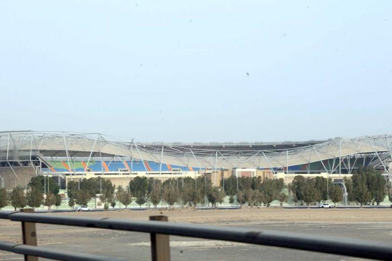 مدرجات الملعب بعد رفع الطاقة الاستيعابية لاستضافة الجماهير.