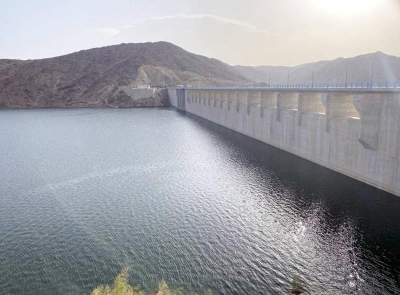 تجمعات المياه في سد وادي بيشة. (عكاظ)