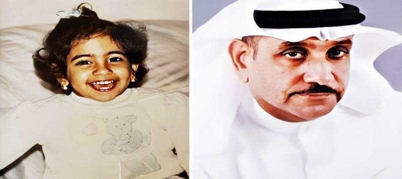 صورة والدها سمير العوضي وصورتها أيام طفولتها.